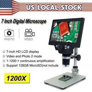 Digital Microscope 1200x Fhd Lcd 7 Inch Video Magnifier Amplification Endoscope
