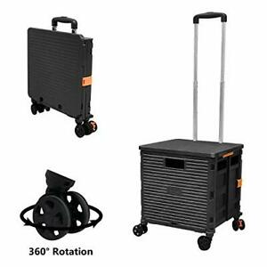 Foldable Utility Cart Folding Portable Rolling Crate Handcart With Durable Heavy