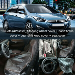 10sets Clear Disposable Car Steering Wheel Seat Foot Pad Hand Guard Cover Ma2320