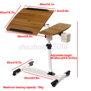 Height Angle Adjustable Laptop Rolling Sofa Desk Overbed Food Tray Table Stand