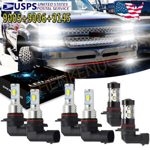 For Chevy Silverado 1500 2500 3500 2003 2006 6x 6000k Led Headlight Fog Light Yh
