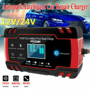 12v 8amp 24v 4amp Automotive Smart Battery Charger Maintainer With Lcd Display