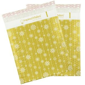 Bubble Mailers 10x13 Pack Of 25 Holiday Mailers Gold Snowflakes