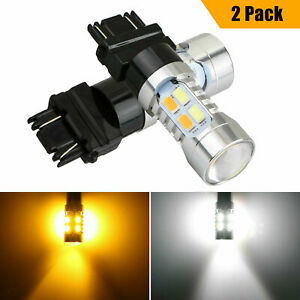 3157 Led Drl White Amber Switchback Turn Signal Parking Light Bulbs Dual Color