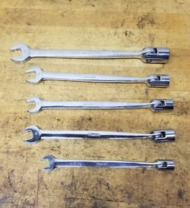Snap On 5pc Metric Combination Flex Head Socket End Wrench Set 10mm 17mm Fhom