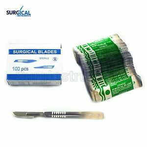 lot Of 100 Scalpel Blades 22 With 4 Metal Handle Suitable For Dermaplaning
