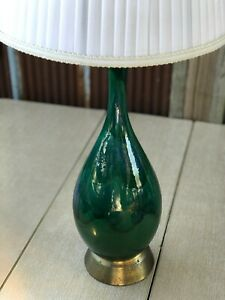 Mid Century Modern Blue Green Drip Glaze Table Lamp Vintage Danish Atomic
