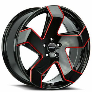 4 20 Strada Wheels Coltello Gloss Black Candy Red Milled Edge Rims b44