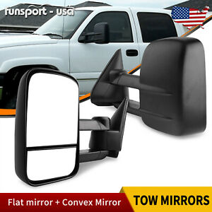 Pair Manual Tow Mirrors Textured Black For 99 07 Chevy Silverado 1500 2500 3500