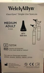 Open Box welch Allyn Kleenspec 52134 Single use Specula Medium Adult 4mm 475
