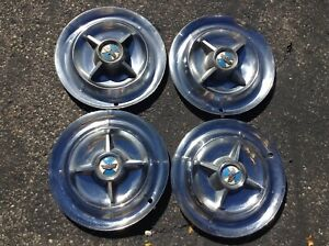 1955 1956 Dodge Lancer Spinner Hubcaps Wheelcovers Flipper 15 Inch