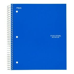 Five Star Notebook 1 Subject College Ruled 8 1 2 X 11 100 Sheets Blue