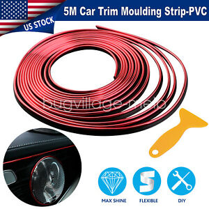 16ft 5m Red Rubber Seal Car Door Edge Guard Trim Molding Protector Auto Strip