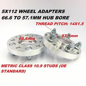 2x 20mm Wheel Spacers 5x112 66 6 To 57 1 Cb 14x1 5 Fits Audi Hubcentric