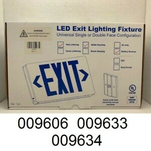 Beghelli Led Exit Sign Red Letters White Housing Battery Backup Va4 r sa