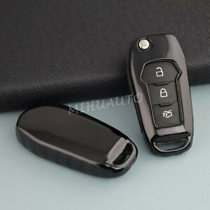 Black Tpu Flip Key Case Holder Cover For Ford F150 F250 Focus 4 Explorer Ranger