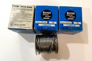 3x Vintage Kester Solder 1 Lb In Each Box 125 50 50 Tin Lead Solid Wire Nos