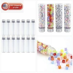 Depepe 30pcs 50ml Clear Flat Plastic Test Tubes With Screw Caps