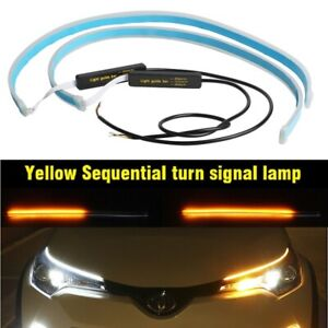 60cm Car Led Strip Turn Signal Switchback Indicator Drl White Amber With Drive