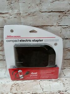 Office Depot Brand Compact Electric Stapler Black Dual Power Ac Or 4 Batteries