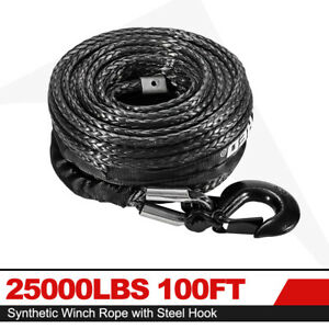 25000lbs 100ft Synthetic Winch Rope Winch Line Cable Rope W Steel Hook For 4wd