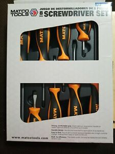 Matco Tools 8 Pc Orange Screwdriver Set Sso8c