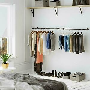 Industrial Pipe Clothes Rack 37 Inch Heavy Duty Wall Mounted Black Iron Bar