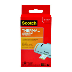Scotch Thermal Laminating Pouches For Business Cards 2 5 16 X 3 7 10 Pack O