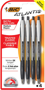 Bic Atlantis Original Retractable Ball Pen Medium Point 1 0mm Black 4 count