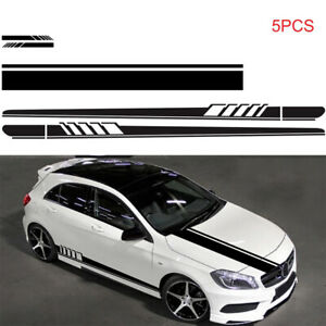 Side Skirt Mirror Body Hood Vinyl Racing Stripe Decals For Car Universal Black