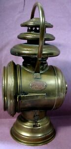Very Early Solar Brass Bale Handle Sidelamp W Magnifier Door Lens Model T Ford