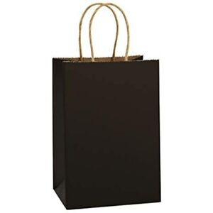 Kraft Paper Bags 25pcs 5 25x3 75x8 Inches Small Gift Shopping Bags Party Black