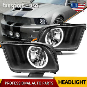 For 2005 2009 Ford Mustang Black Housing Clear Lens Halo Headlights Lamps Pair