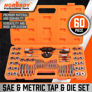 60 Pcs Master Tap And Die Set Coarse And Fine Threads Tools Sae Inch Metric Mm
