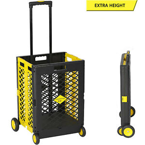 Folding Rolling Utility Cart Collapsible Hand Grocery Shopping Basket Trolley