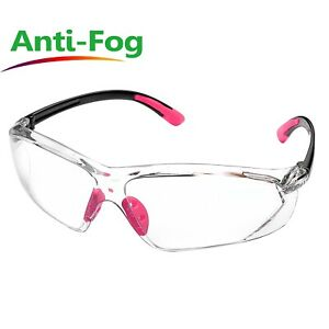 Safeyear Pink Work Goggles Safety Glasses Clear Lens Anti Fog Super Light Women