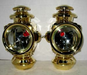 Pair E J Brass 2 Tier Sidelamps W Flare Rims Off Nrs Or Early Model T Ford