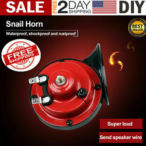 12v 300db Super Loud Snail Air Horn Motorcycle Car Truck Boat Train Universal Us