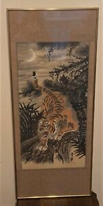 Antique Framed Signed Korean Joseon Dynasty Tiger Silk Scroll Painting