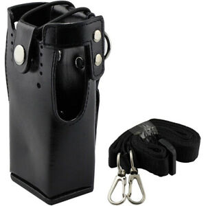 Hard Leather Case Carrying Holder Holster For Motorola Two Way Radio With Strap