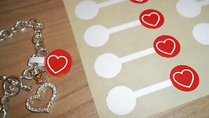 Jewellery Valentines Red Heart Price Stickers Labels Tags Dumbells Jewelry