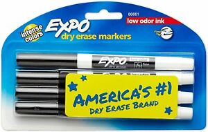 Expo Low odor Dry Erase Markers Fine Point Black 86661 4 count