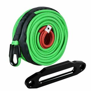95ft X 3 8 Green Synthetic Winch Rope 22000lb Towing Cable 10 Black Fairlead