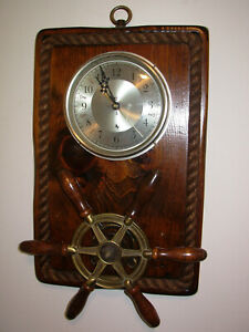 Rare Vintage Nautical Milford Guild Wall Clock With Ship Wheel