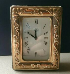 Vintage Pink Gold Washed Sterling Silver Framed Quartz Desk Clock 3 5 X 4 75