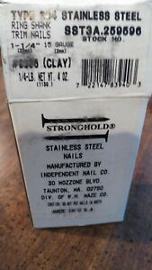 304 Clay Stainless Steel Trim Nails 1 1 4 Box 15 Gauge Usa Stronghold 1 4 Lb