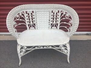 Antique Victorian Heywood Wakefield Loveseat All Reed