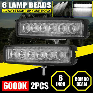 2x 6inch Led Work Lights Bar Flood Spot Combo Fog Lamp Offroad Suv Driving Truck
