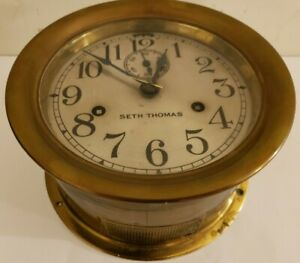 Antique Seth Thomas Brass Ships Bell Strike 7 Marine Ship Deck Nautical Clock