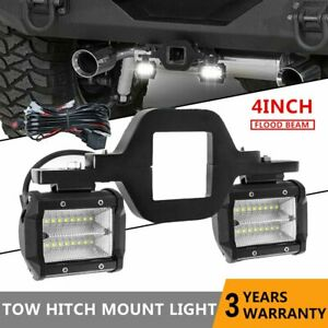 Trailer Tow Hitch Mounting Bracket 4 Flood Led Reverse Driving Lights W Wire